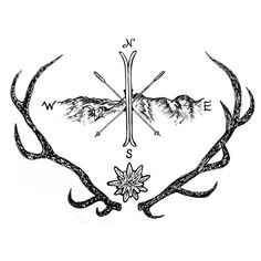Deer mountain tattoo design by Miletune.deviantart.com on @DeviantArt