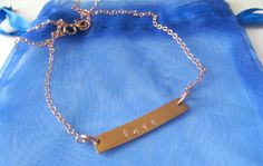 Name Necklace, Gold Nameplate Necklace, Kids Names, Horizontal Bar or Vertical Bar in 14K Rose Gold by The Gold Bar by TheGoldBar on Etsy