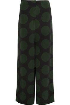 McQ Alexander McQueen - Polka-dot Crepe Wide-leg Pants - Forest green - IT
