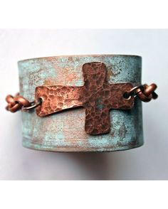 Women's Metallic Hand Painted Leather Cuff Bracelet with Sideways Cross - Metallic