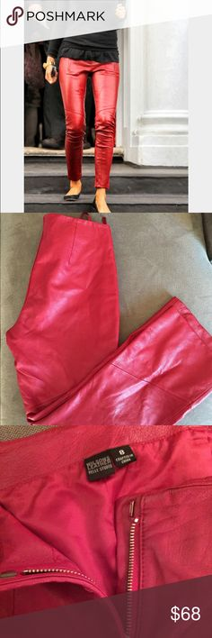 ☎️ Ruby Red Leather Pants From Wilson's Size 8 ☎️ Ruby red lined leather pants from Wilson's. Fabulous condition. One tiny light mark on the lower inseam of right leg. Not detectable while worm. Front zipper closure. Cute slanted seams on the knee and lower legs. Size 8. Wilsons Leather Pants