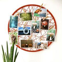 déco murale intéressante avec des photos dans un cadre rond