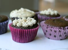 Chocolate Chocolate Chip Cupcakes - made with coconut flour & maple syrup - Gluten & Refined Sugar Free Paleo Cupcakes, Gluten Free Chocolate Cupcakes, Cupcake Cakes, Chocolate Muffins, Cup Cakes, Mini Cupcakes, Paleo Dessert, Dessert Recipes, Desserts
