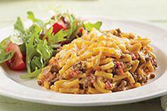 Casserole de macaroni au cheddar et au bœuf