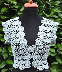 Boleros Mint Vest free crochet graph pattern similar to the chocolate one Débardeurs Au Crochet, Crochet Bolero Pattern, Gilet Crochet, Mode Crochet, Crochet Shirt, Crochet Jacket, Crochet Woman, Crochet Cardigan, Irish Crochet