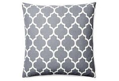 One Kings Lane - Brighten Up - Solvang 20x20 Cotton Pillow, Gray