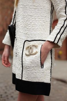 mix low fashion with high fashion.crew dress with chanel pin. Fashion Week, Look Fashion, Fashion Details, High Fashion, Winter Fashion, Womens Fashion, Fashion Trends, Fashion Outfits, Style Work