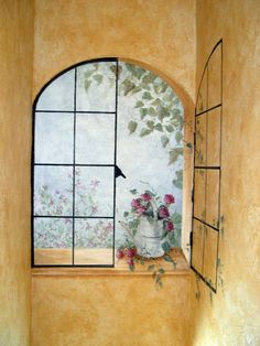for a small closet type toilet area? Tromp l'oeil window~