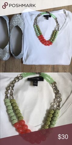 NWOT Anthropologie Necklace Never worn double-layered necklace. Beautiful spring colors with just a touch of sparkle. Perfect condition! Anthropologie Jewelry Necklaces