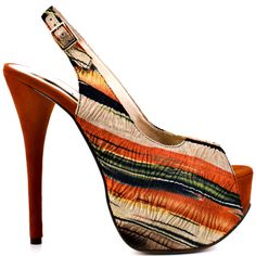 Heels I Love #heels #summer #high_heels #color #love #shoes Too Much Fun - Orange Fabric                      Luichiny