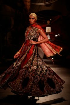 Model walking on the ramp for JJ Valaya at the Amby Valley India Bridal Fashion Week. #Fashion #Style #Beauty #Bollywood