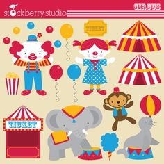 Fun circus Personal and Commerical Use Vector Clipart Set. 14 clipart designs. - Instant Download    File formats you will receive:    14 PNG