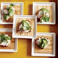 Fresh Ricotta & Radish Crostini, see Rachael Khoo's London Notebook Garden Salad for other options, i.e. pickled onions, CF,