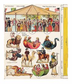 Paper Dolls, - The Collection of Shirley Fischer: 154 1896 Newspaper Supplement Paper Toy Carousel from The Toledo Bee Vintage Paper Dolls, Vintage Circus, Antique Dolls, Libros Pop-up, Paper Art, Paper Crafts, Paper Doll House, Toy Theatre, Circus Art
