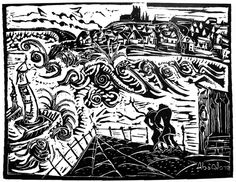 Mike Absalom; Whitby; Lino print