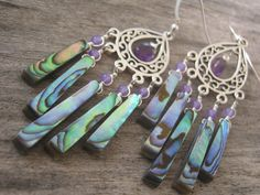Abalone and Amethyst Chandelier Earrings by Abundantearthworks, $66.00