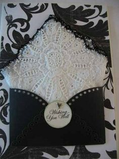 hankie gift greeting cards | Vintage Crocheted Black White Handkerchief Friend Thinking Of You ...