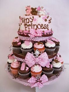 Tiny Princess Baby Shower Cupcake Tower - Inspiring decorating idea for your baby shower using cupcakes. Baby Cakes, Baby Shower Cupcake Cake, Baby Shower Cupcakes For Girls, Cupcake Cakes, Cupcake Tree, Diaper Cakes, Cupcake Ideas, Beautiful Cakes, Amazing Cakes