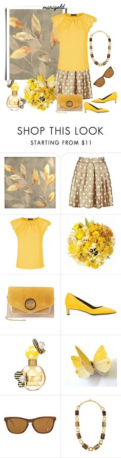 """""""Marigold Golden"""" by ladygroovenyc ❤ liked on Polyvore featuring Boohoo, HotSquash, Jayson Home, Halston Heritage, Robert Clergerie, Marc Jacobs, Oakley and Ashley Pittman"""