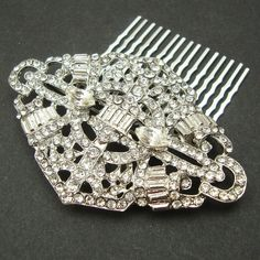 Bridal Hair Comb Art Deco Crystal Wedding Hair Comb by luxedeluxe, $64.00