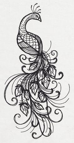 Inked Peacock | Urban Threads: Unique and Awesome Embroidery Designs