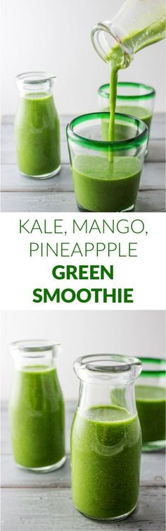 Kale mango pineapple smoothie | http://savorytooth.com