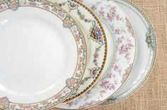 Vintage Mismatched China 8 Salad Plates for by RosebudsOriginals