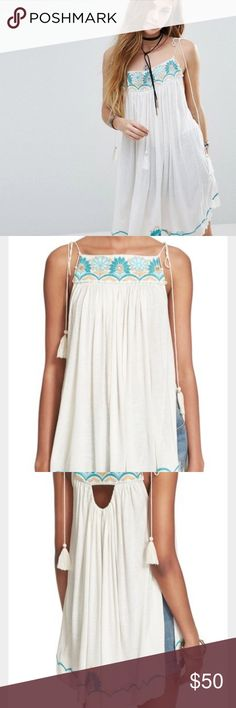 SALE💫 Free People Heatwave Tunic Top Ivory and blue combo, beautiful beading. Super cute for hot summer days! Brand new with tags! Free People Tops Tank Tops