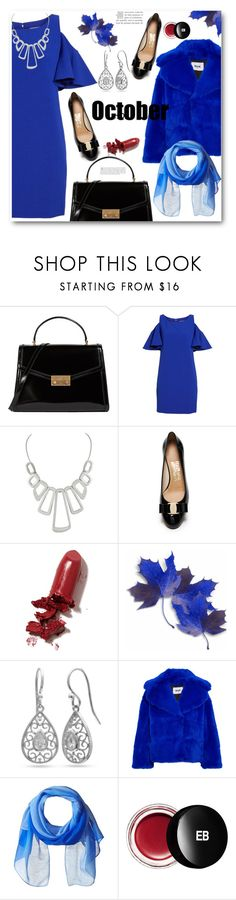 """""""October"""" by ucetmal-1 ❤ liked on Polyvore featuring Tory Burch, Chelsea28, Salvatore Ferragamo, LAQA & Co., Belk Silverworks, MSGM, Rudsak, Edward Bess, polyvoreeditorial and bluedresses"""