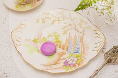 Very pretty hand-coloured cake plate in lovely by TheButteredCat