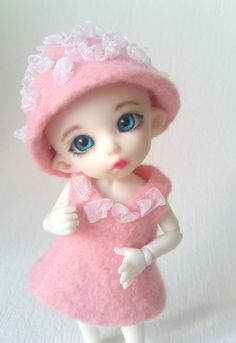 """Felted OOAK outfit """"Рink marshmallow"""" for PukiFee, Lati Yellow and dolls similar format by Valyashki on Etsy"""