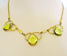 Victorian Citrine Necklace Gold Filled by nanascottagehouse, $75.00
