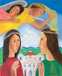 Figures and angels with church in background by Rodolfo Morales