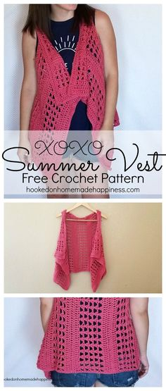 "Add this vest to your summer wardrobe for a fun accessory! The cotton yarn makes it light and a great project for warmer months. I used the ""X' stitch. It has an open, airy design, and creates a nice textured piece. The vest is just one big rectangle with armholes. It's fitted along the back, but is pretty and flowy in the front. I wanted to keep everything easy-peasy and because there isn't any decreasing along the neckline, it hangs a little bit. But by folding over the neckline like a…"