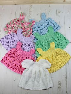 Crochet - Baby Dress and 6 Pinafores