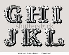 Retro vintage illustration of alphabet letters in caps, the G, H, I, J, K and L in the antiqua design in black and white over a sepia backgr...