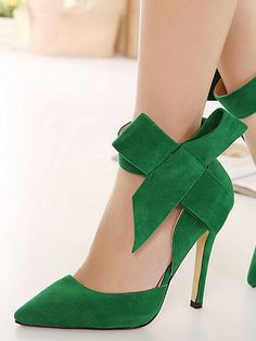 438f7aa391e WithChic Green Detachable Bow Embellishment High Heeled Pumps