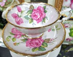 Royal Stafford Tea Cup and Saucer Berkeley Rose Pattern Teacup Pink Roses