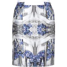 PRABAL GURUNG Blue-Multi Printed Silk-Cotton Pencil Skirt ($1,420) ❤ liked on Polyvore