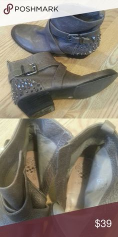 Vince Camuto distressed booties Pre owned,, size 10, clean inside, 1,5 inch block heel minor scratch on the front, pic#2,  there is 1stud missing pic #4 Vince Camuto Shoes Ankle Boots & Booties