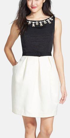 Embellished black and white dress