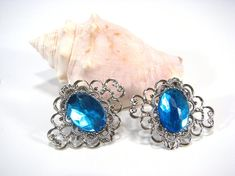 Aqua Blue Shoe Clips Silver Filigree for your by SpinTilYurDizzy, $15.00