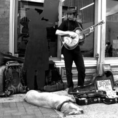 one of the many Street musician on lower Broadway, Nashville, Tennessee, 2011...Dog Tired