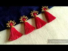 How to add beads on Plain/Simple Tessels to make a New Kuchu/Tessels design Saree Kuchu New Designs, Saree Tassels Designs, Fancy Blouse Designs, Designs For Dresses, Hand Embroidery Patterns Flowers, Hand Embroidery Designs, Beaded Embroidery, Fabric Patterns, Passementerie