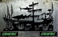 Underwater Shipwreck metal sign sharks by SCHROCKMETALFX on Etsy