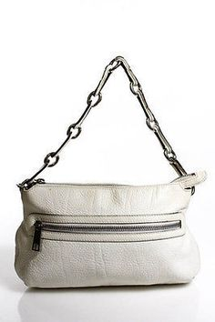 Marc Jacobs White Leather Zip Up 3 Pockets Tote Size Small