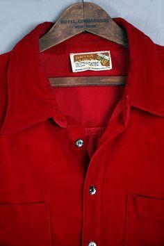 1950's Mans Red Velvet Button Up Shirt