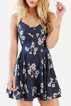 Blue Sleeveless Floral Midi Dress - Style Spacez
