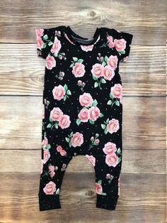 Black Rose Coverall Romper, Toddler Romper, Baby Girl Romper, Baby Girl Gift, Newborn Outfit, Baby Outfit, Harem Romper, Girl Romper