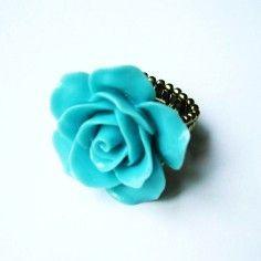 Blue Ladies Vintage Look Rose Fashion Gothic Stretch Size Adjustable